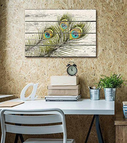 Wall26 - Colorful Peacock Feathers Artwork - Rustic Canvas Wall Art Home Decor - 12x18 inches