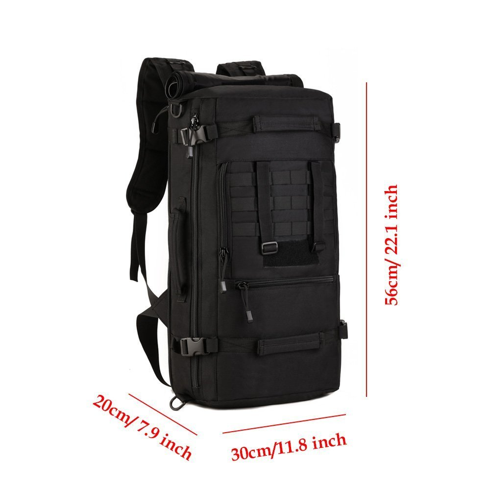 Amazon.com : Military Tactical Assault Backpack 50L Waterproof 3 Way MOLLE Rucksack for Hiking Camping Travel Outdoor Sports (Black) : Sports & Outdoors
