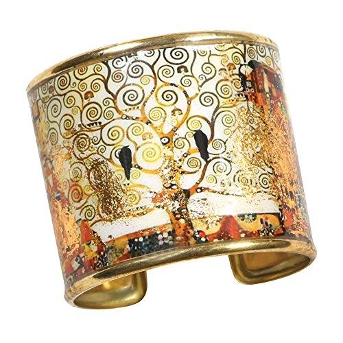 FLORIANA Women's Art Gold-Flecked Cuff Bracelet - Gustav Klimt/Vincent Van Gogh - Tree of Life
