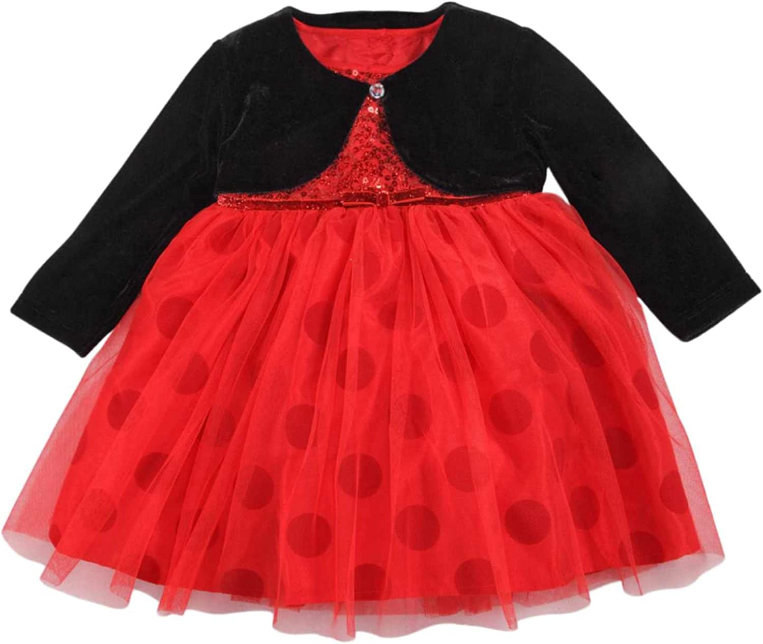 Toddler Girls Red Long Sleeve Sparkly Time Of Year Tulle Christmas//Holiday Dress