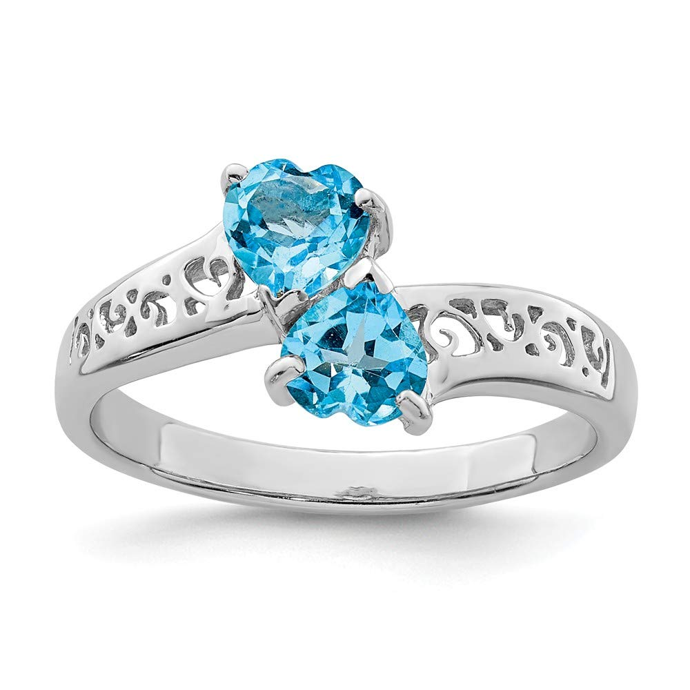 925 Sterling Silver Swiss Blue Topaz Heart Band Ring Size 6.00 S/love Gemstone Fine Jewelry Gifts For Women For Her