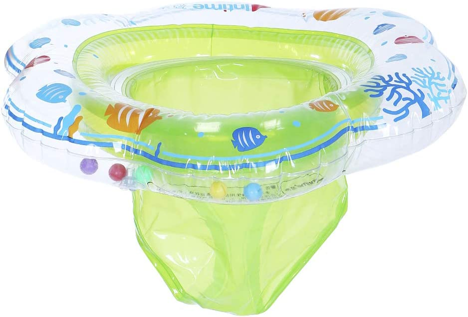 Baby Inflatable Float Swimming Ring with Double Airbag Children Summer Swim Floatation Devices with Seat Blue