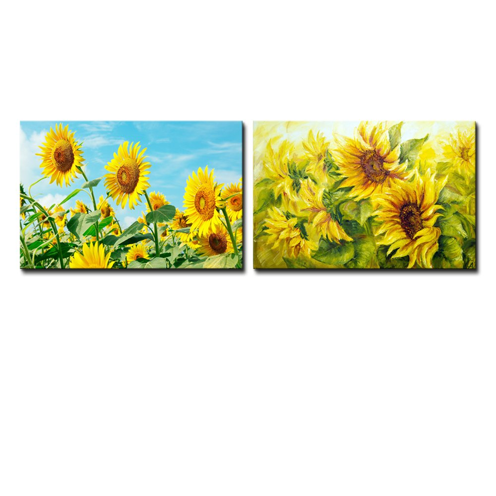 Sunflower Field Photo and Sunflowers Painting Wall Decor ation x 2 ...