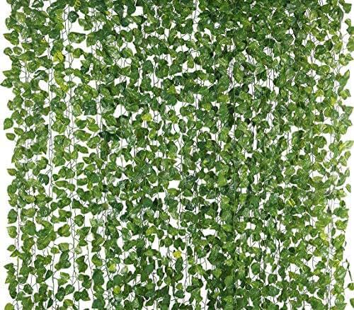 Yatim 78-Ft 12 Pack Silk Artificial Ivy Vines Leaf Garland Plants Hanging Wedding Garland Fake Foliage Flowers Home Kitchen Garden Office Wedding Wall Decor