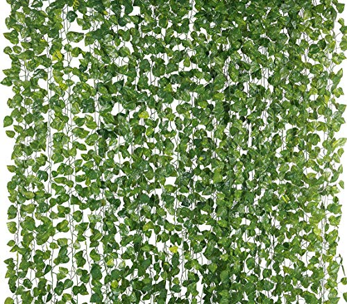 Yatim 78-Ft 12 Pack Silk Artificial Ivy Vines Leaf Garland Plants Hanging Wedding Garland Fake Foliage Flowers Home Kitchen Garden Office Wedding Wall Decor (Birthday Cake Black Forest)