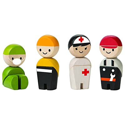 PlanToys Wooden 4 Piece Rescue Crew (6269) | Sustainably Made from Rubberwood and Non-Toxic Paints and Dyes: Toys & Games