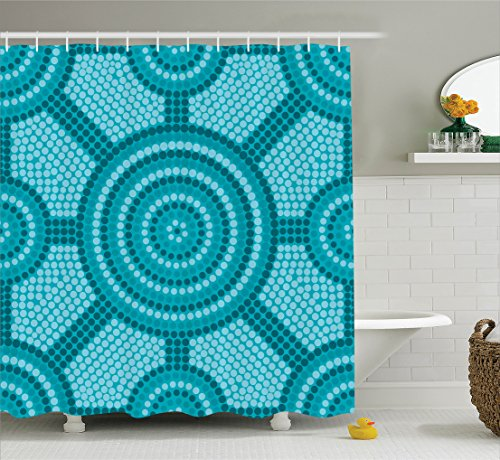 Teal Decor Shower Curtain Set by Ambesonne, Abstract Aboriginal Dot Painting Ancient Native Ethnic Cultural Art in Australia , Bathroom Accessories, 84 Inches Extralong, Teal (Home Accessories Australia)