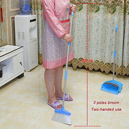 IKU Transmutable in Length Long Handle Broom and Dustpan Set - 3 Poles (48'') & 2 Poles (35.2'') - Indoor Upright Standing Collapsible Lobby Broom for Home Office Kitchen with Hand Scrub Brush(Blue) by IKU (Image #2)