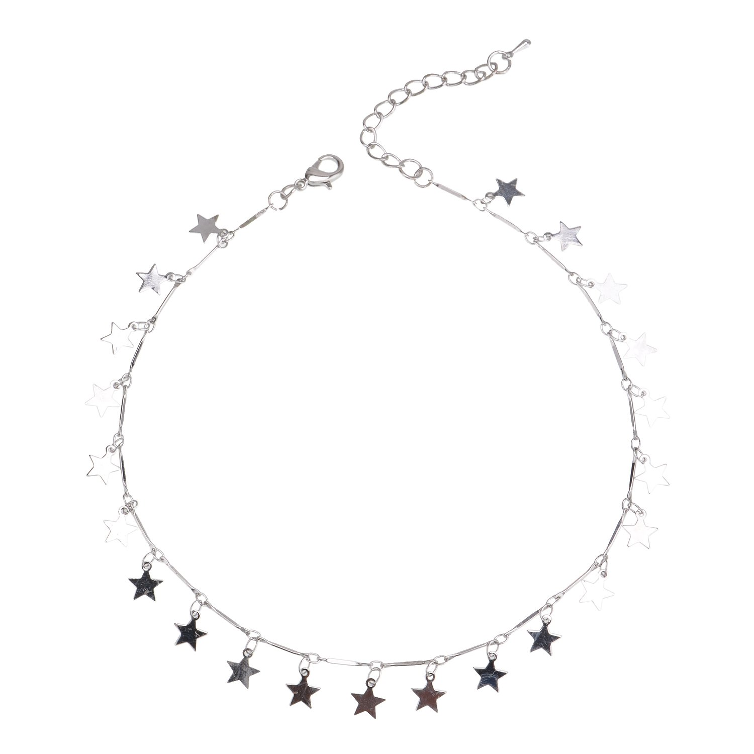 296d00cd493cef Amazon.com: Manerson Lucky Star Choker Necklace Pendant Disc Chain  Statement Necklace for Women Girls (Silver): Jewelry