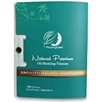 Natural Bamboo Charcoal Oil Absorbing Tissues - 100 Counts, Easy Take Out Design - Top Oil Blotting Paper, Premium Handy…