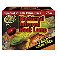 Zoo Med Nocturnal Infrared Heat Lamp 2 Pack 75w