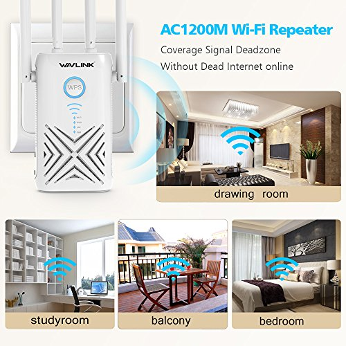 AC1200 High Power Dual Band WiFi Range Extender, WAVLINK Wireless Signal Booster/Repeater/Access Point/Router w/Gigabit Ethernet - White by WAVLINK (Image #1)