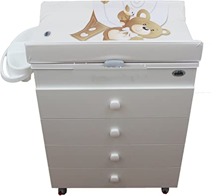 Commode Table A Langer Avec Baignoire Cam Blanc Motif Ourson Amazon Fr Bebes Puericulture