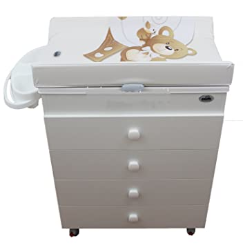 COMMODE TABLE À LANGER AVEC BAIGNOIRE CAM BLANC MOTIF OURSON: Amazon ...