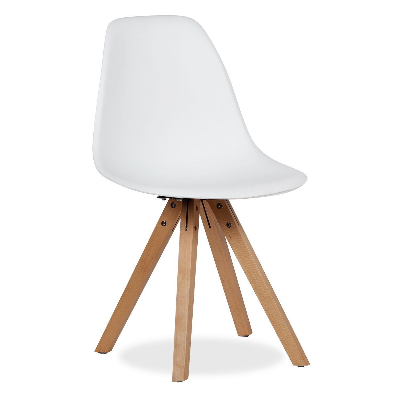 Lo+DeModa Wooden Star Set di 2 Sedia, Polipropilene/Faggio, Bianco, 49.5x50x6.25 cm Superstudio ZLG013 ZLG013-11_Blanco