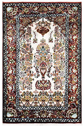 (RugsandBeyond Handknotted Area Rug Kashmiri Carpet Luxurious Tree of Life Design Ivory Maroon Green Pure Silk and Cotton Persian Design Royal Craftsmanship 100% Hand Washable (Cream, 2.5' by)