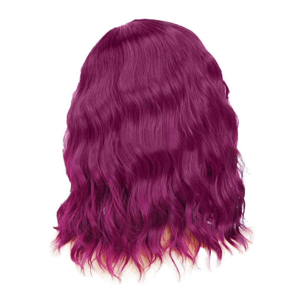 Meidexian888 Long Curly Wigs, Women's Fashion Front lace Wig Purple Synthetic Hair Long Wigs Wave Curly Wig