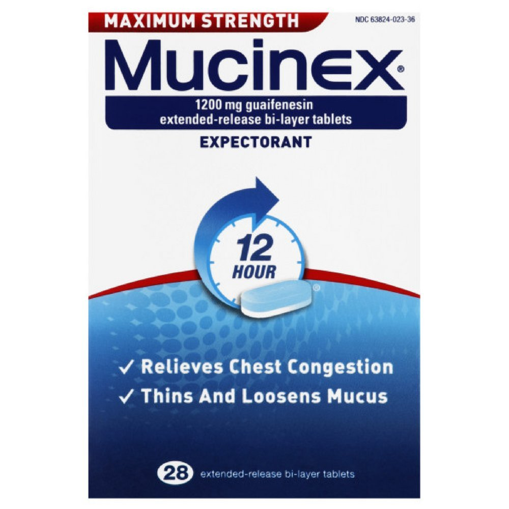 Mucinex Maximum Strength 12-Hour Chest Congestion Expectorant Tablets, 28 ct(Pack of 6)