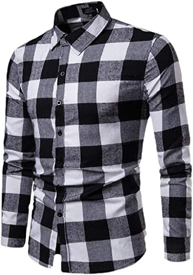 securiuu Camisa de Vestir de Manga Larga a Cuadros con Botones para Hombre Negro Negro (US XX-Small: Amazon.es: Ropa y accesorios