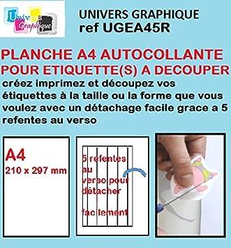 ugea45r-20 Papel de vinilo adhesivo especial, hoja de corte para crear tus propias etiquetas del tamaño que elijas, 20 hojas, tamaño A4, 5 cortes en ...