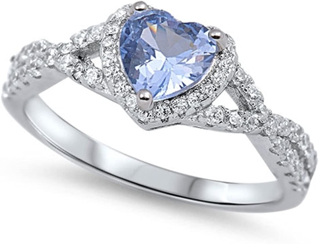 Blue Apple Co. Halo Infinity Shank Heart Promise Ring Simulated Aquamarine Round CZ 925 Sterling Silver