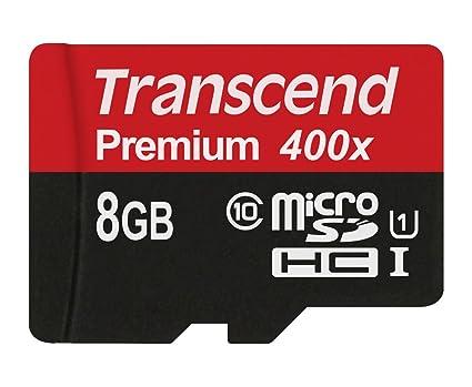 Transcend Premium - Tarjeta de Memoria Micro SDHC de 8 GB sin Adaptador (Clase 10, UHS-I, 45 MB/s 300x)