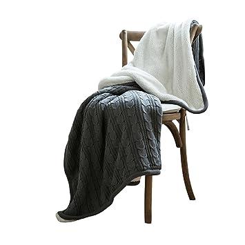 MKKM Manta de Terciopelo + Manta de Manta de Cordero Manta de Manta de Punto de Algodón Casual Nórdica,Gris,120x180cm: Amazon.es: Deportes y aire libre