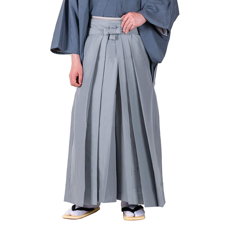 KYOETSU Men's Japanese Hakama Pants Type (Large, Grey)