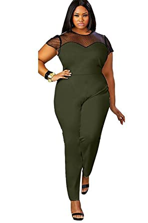 c8ae663803b4 Vdual Women Plus Size One Shoulder Jumpsuit Playsuit Sleeveless Plain Harem Oversized  Romper  Amazon.co.uk  Clothing