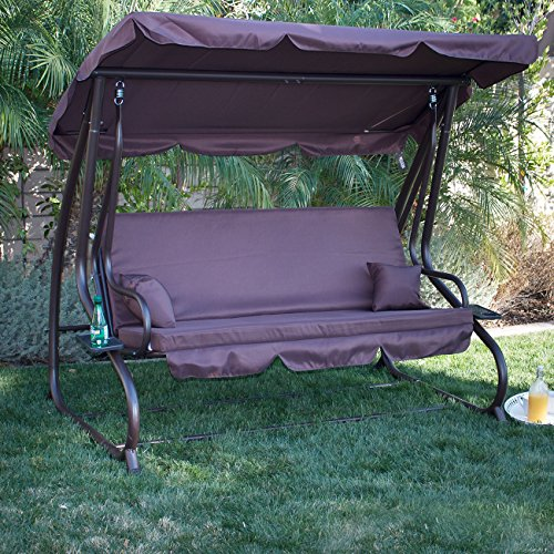 Belleze Porch Swing Bed Cushioned Adjustable UV Resistant Sunlight Protection Backrest Soft Polyester Flatbed Dark Brown (Costco Stand Hammock)