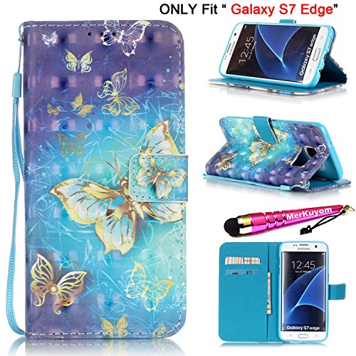 Galaxy S7 Edge - Case, MerKuyom [Special 3D][Wrist Strap][Kickstand] Premium PU Leather Wallet Pouch [Card Holder] Flap Cover Skin Case For Samsung Galaxy S7 Edge, W/ Stylus (Blue Flying Butterfly)