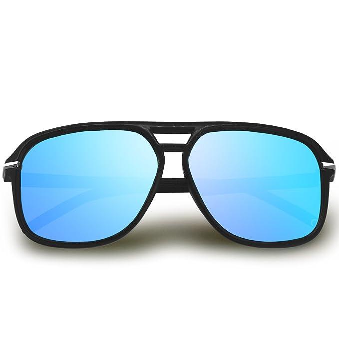 AMZTM Polarizado Gafas de Sol de Aviador para Mujer Hombre Grande Espejadas Reflexivo Gafas de Conducción