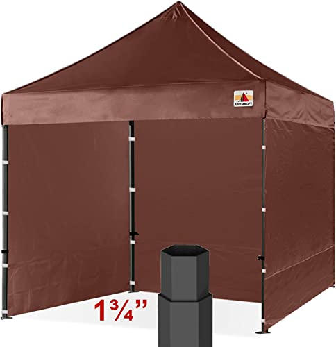 ABCCANOPY Professional 10 x10 Easy Pop-up Canopy Tent Commercial Instant Shelter with Wheeled Carry Bag and 6 Removable Sidewalls, Bonus 4 Weight Bags Brown