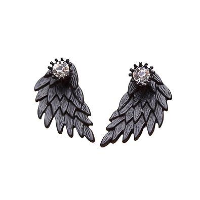MengPa Star Fashion Jewelry Rhinestone Front Back Ear Jackets Stud Earrings for Women t1jyh