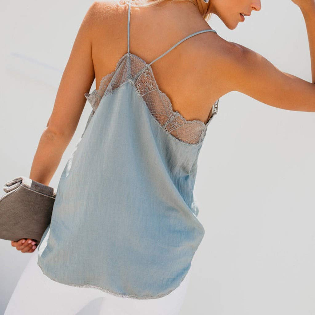 iSkylie Womens V-Neck Vest Lace Sleeveless Cami Spaghetti Straps Camisole Tunic Swing Tank Tops Loose Shirt Summer Vest (Blue2, M) by iSkylie (Image #2)