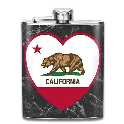 CzxzZd CZZD Clipart California Flag Heart Portable Stainless Steel Flagon Liquor Flask