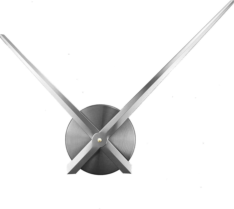 ufengke Reloj de Pared Solo Agujas sin Marco Grande Reloj Quartz Metal 3D DIY Plateado para Salon Comedor, Diámetro 63cm