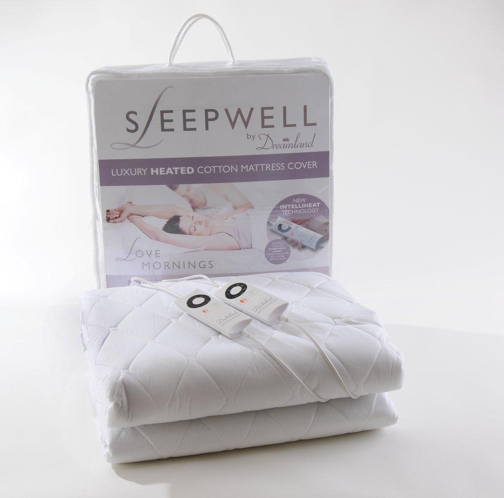 Sleepwell Protège-matelas chauffant 100 % coton avec technologie Intelliheat - Tissu - blanc - 150 x 200 cm