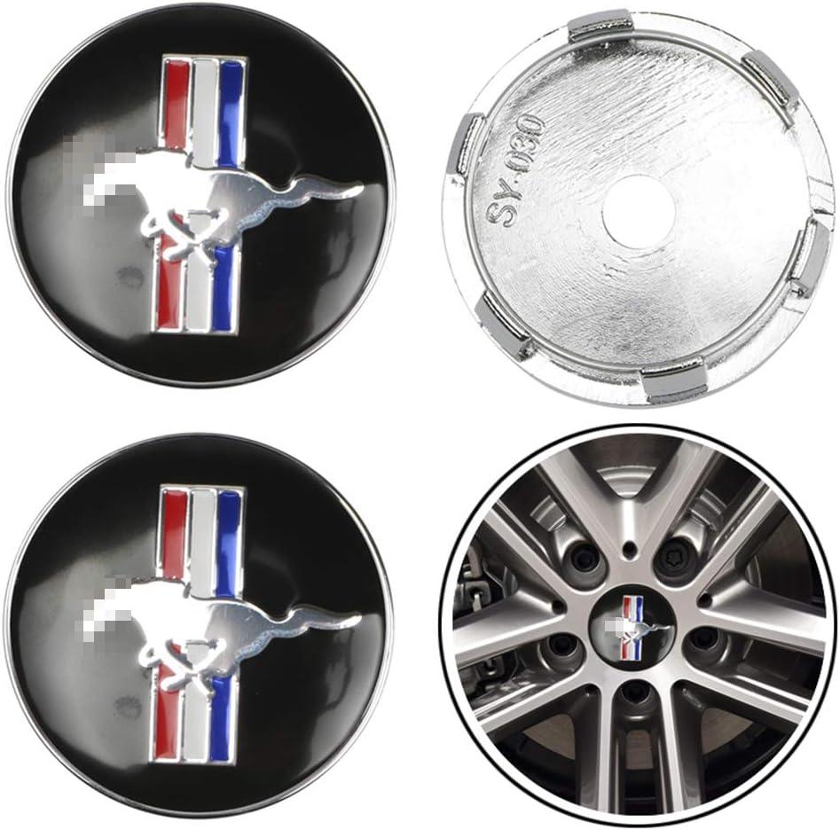 Negro 60 mm 4 Piezas//Juego Tapacubos del Centro de la Rueda del Coche Emblema del Logotipo de la Insignia Tapa del Centro de la Rueda para Ford Mustang Shelby GT Accesorio de dise/ño del Coche