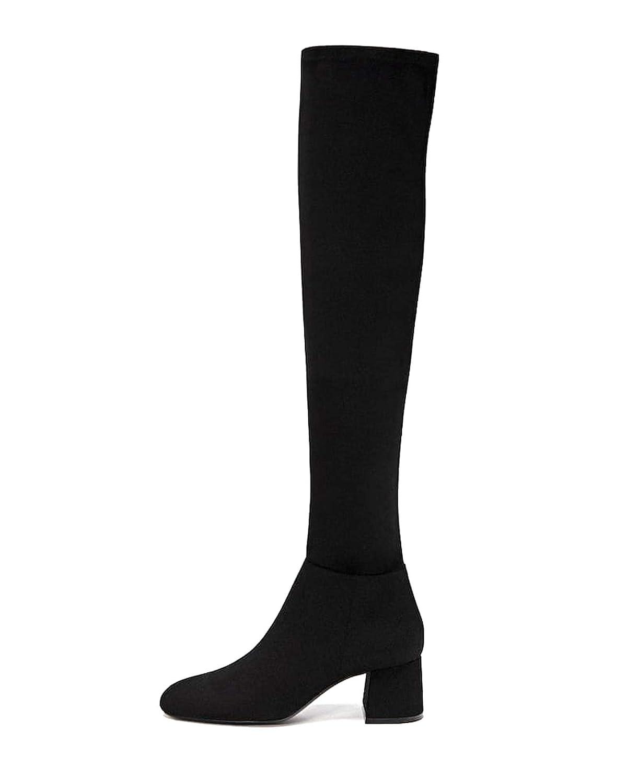 Stradivarius Damen Schwarze hohe Stiefel mit Absatz 341 6975 341 Absatz a0f2dc