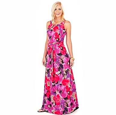 4736f44768458 Sarah-P Collection Designer Academy Studios Sarah-P Floral Print Jersey  Stretch Bold Maxi Dress New Summer (10/12): Amazon.co.uk: Clothing