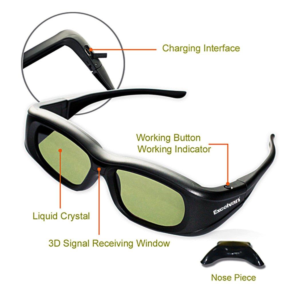 Bluetooth Excelvan Universal 3D Active Shutter Glasses For Sony//Panasonic//Sharp//Toshiba//Mitsubishi//Samsung 3DTV