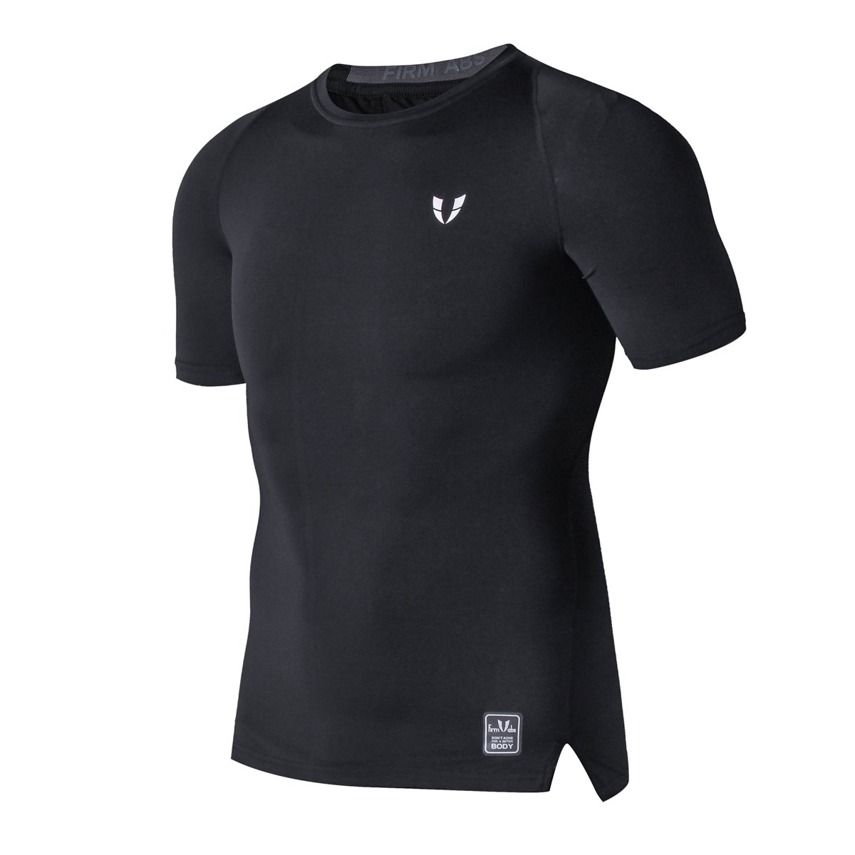 FIRM ABS Men's Short Sleeve Compression Tight T Shirt (M,Black)