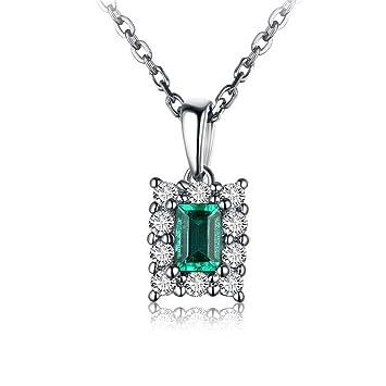 9ae49fca29d7 OMZBM Collar De Piedras Preciosas Naturales Esmeralda 18K Oro Blanco  Cuadrado Color Piedra Diamante Colgante Collar Para Mujeres Y Niñas   Amazon.es  ...