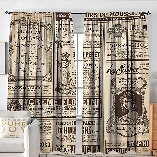 Blackout Curtains for Bedroom Paris,Vintage Old Historic Newspaper Journal French Paper Lettering Art,Pale Brown Caramel and White,Darkening and Thermal Insulating Draperies 54