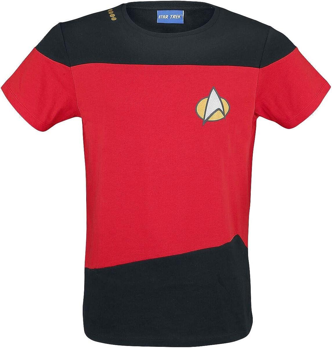 Star Trek The Next Generation Uniform rot M/änner T-Shirt rot//schwarz L