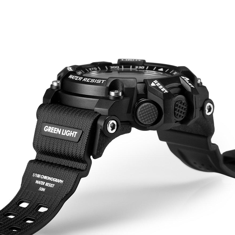 Lemfo Mens Militar Reloj Inteligente, EX16 Bluetooth 4.0 LED Reloj Digital 5 ATM & IP67 Impermeable Smartwatch podómetro Llamada SMS recordatorio Liminous ...