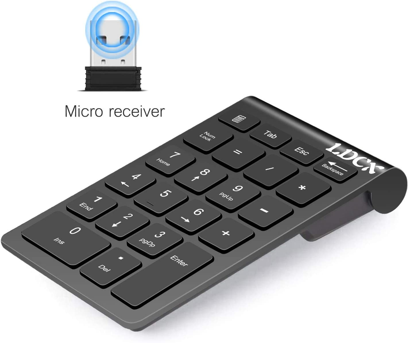 USB Numeric Keypad, Mini Number Keypad for Laptop Desktop Computer PC, Wireless 22 Keys Slim USB Number Pad, Portable Numeric Keypad 2.4GHz -Black