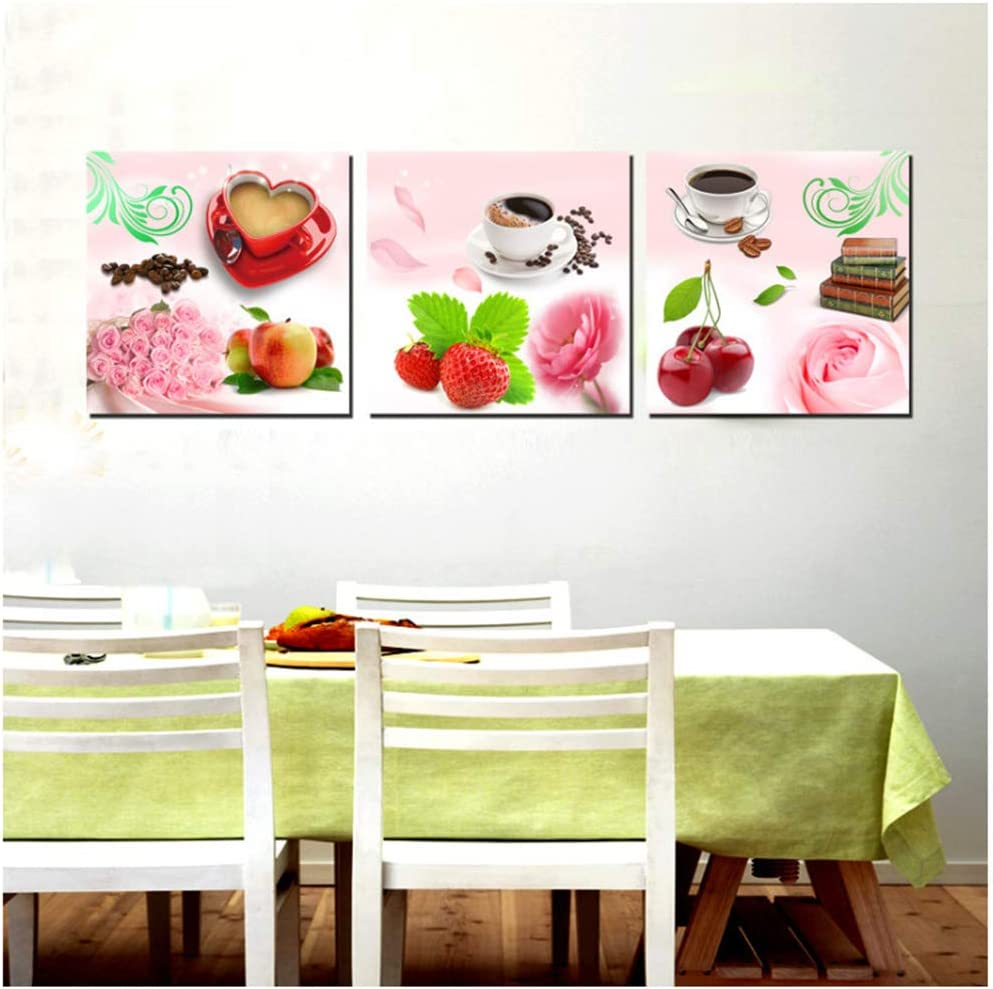 Impresiones en lienzo Café y frutas Cuadros de arte Cocina moderna Pared Decorativa 50x50cm Enmarcado Rosa
