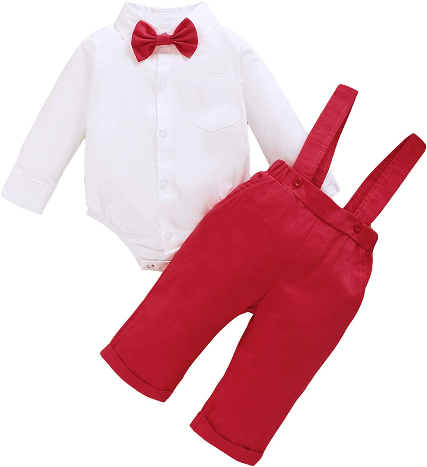 ROMPERINBOX Baby Boy Red Gentleman Outfits Toddler Short Long Sleeve  Shirt+Bowtie+Bib Pants Infant Summer Clothing Set